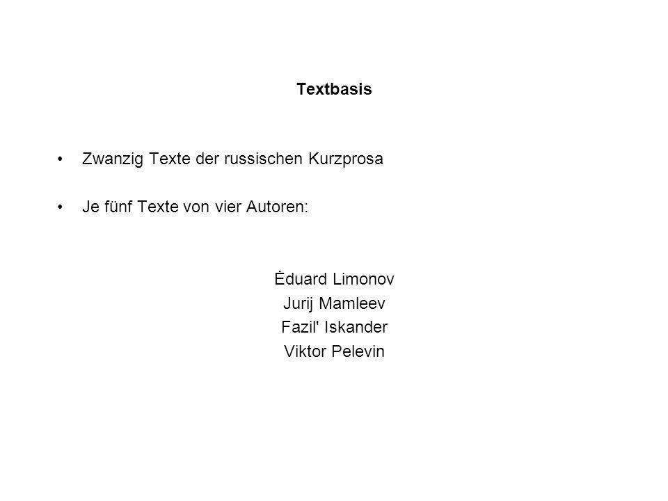 Textbasis Zwanzig Texte der russischen Kurzprosa Je fünf Texte von vier Autoren: Ėduard Limonov Jurij Mamleev Fazil Iskander Viktor Pelevin