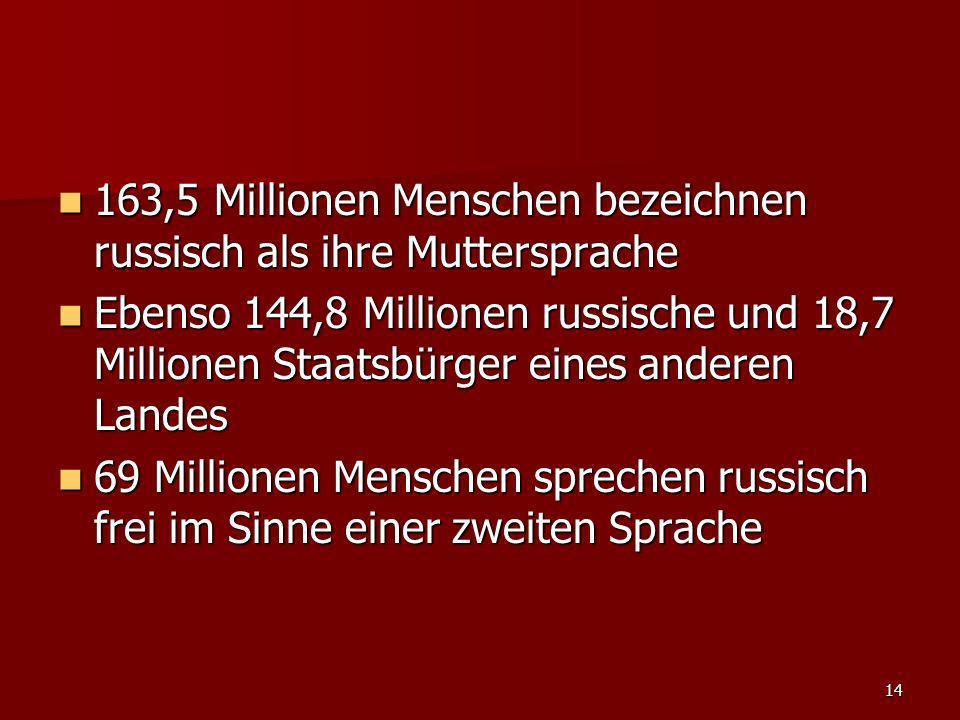 14 163,5 Millionen Menschen bezeichnen russisch als ihre Muttersprache 163,5 Millionen Menschen bezeichnen russisch als ihre Muttersprache Ebenso 144,