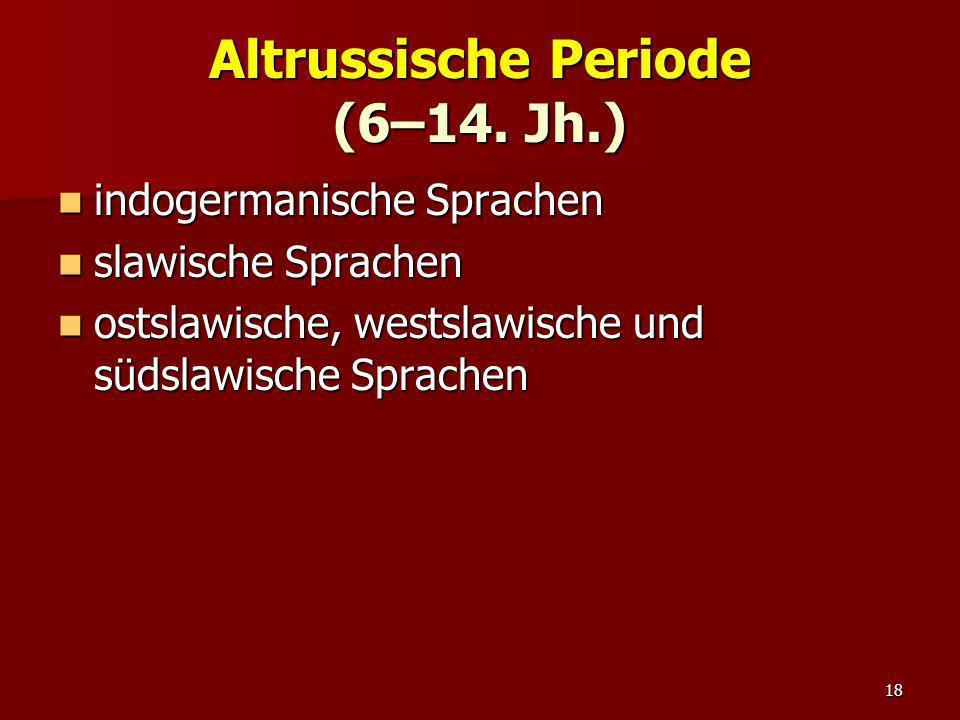 18 Altrussische Periode (6–14. Jh.) indogermanische Sprachen indogermanische Sprachen slawische Sprachen slawische Sprachen ostslawische, westslawisch