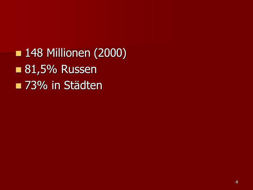4 148 Millionen (2000) 148 Millionen (2000) 81,5% Russen 81,5% Russen 73% in Städten 73% in Städten