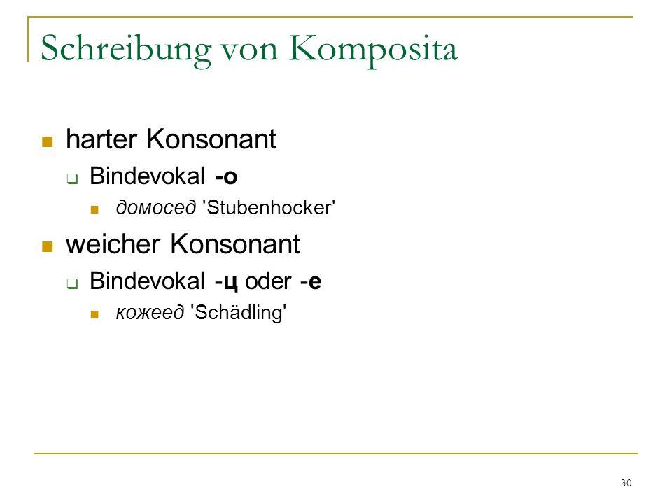 30 Schreibung von Komposita harter Konsonant Bindevokal -о домосед Stubenhocker weicher Konsonant Bindevokal -ц oder -е кожеед Schädling