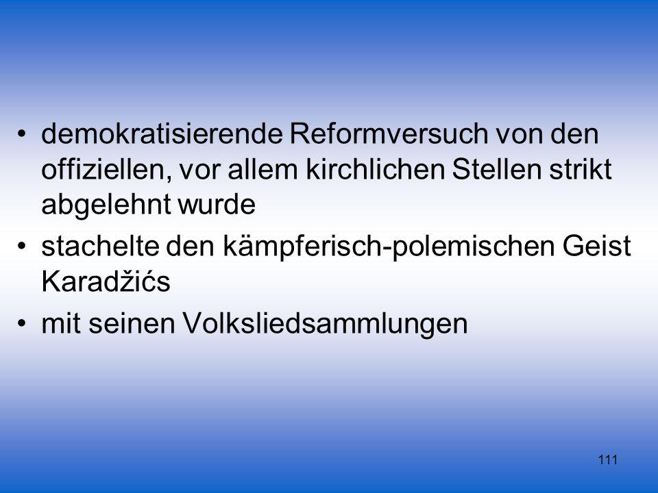 111 demokratisierende Reformversuch von den offiziellen, vor allem kirchlichen Stellen strikt abgelehnt wurde stachelte den kämpferisch-polemischen Ge