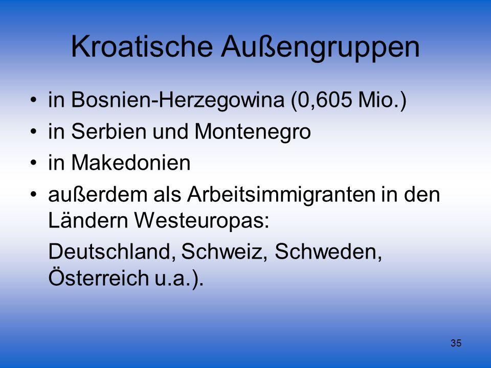 35 Kroatische Außengruppen in Bosnien-Herzegowina (0,605 Mio.) in Serbien und Montenegro in Makedonien außerdem als Arbeitsimmigranten in den Ländern
