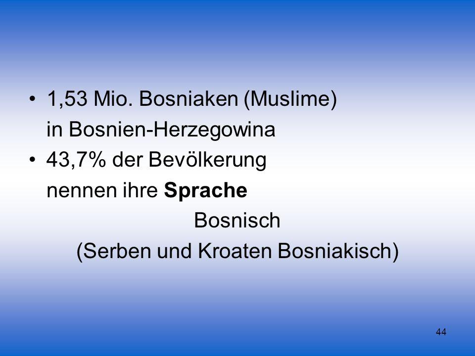 44 1,53 Mio. Bosniaken (Muslime) in Bosnien-Herzegowina 43,7% der Bevölkerung nennen ihre Sprache Bosnisch (Serben und Kroaten Bosniakisch)