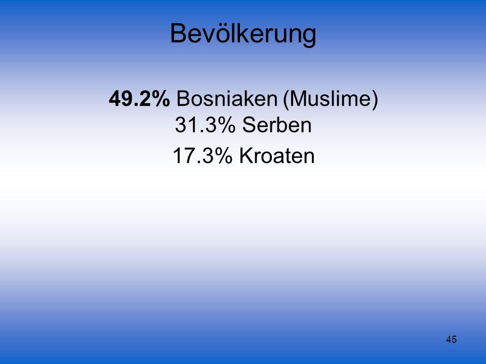 45 Bevölkerung 49.2% Bosniaken (Muslime) 31.3% Serben 17.3% Kroaten