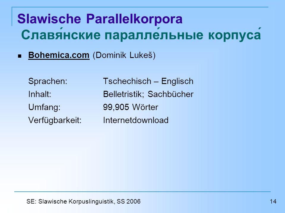 Slawische Parallelkorpora Славянские параллельные корпуса Bohemica.com (Dominik Lukeš) Bohemica.com Sprachen: Tschechisch – Englisch Inhalt: Belletris