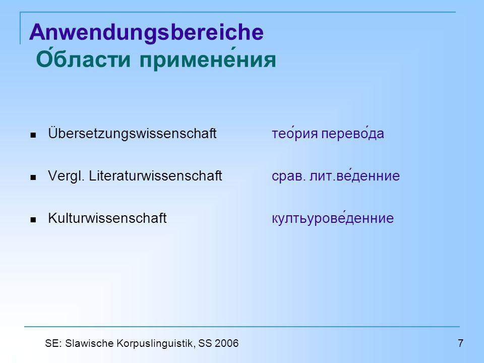 Literatur und Quellen Литература и источники http://www.bmanuel.org/clr2_mp.html#Multilingual_and_Parallel_Corpora http://devoted.to/corpora http://www.up.univ-mrs.fr/~veronis/biblios/ptp.html http://bowland-files.lancs.ac.uk/monkey/ihe/linguistics/corpus2/2fra1.htm http://www.dialog-21.ru/Archive/2005/Mikhailov%20M/MihailovM.pdf http://www.phil.pu.ru/depts/12/corp04.htm#tis http://www.ksu.ru/f10/publications/2004/articles_1_1.php?id=10&num=9000000 http://www.uni-tuebingen.de/uni/nss/docs/Korpora.html http://lingo.lancs.ac.uk/devotedto/corpora/corpora2.htm http://www.ilc.cnr.it/EAGLES96/corpustyp/node20.html http://odur.let.rug.nl/~spenader/public_docs/Parallel_Corpora.pdf 28 SE: Slawische Korpuslinguistik, SS 2006