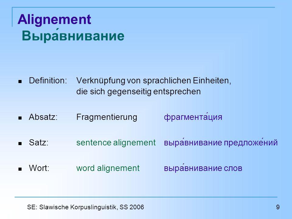 Alignement Выравнивание Definition:Verknüpfung von sprachlichen Einheiten, die sich gegenseitig entsprechen Absatz: Fragmentierungфрагментация Satz: s