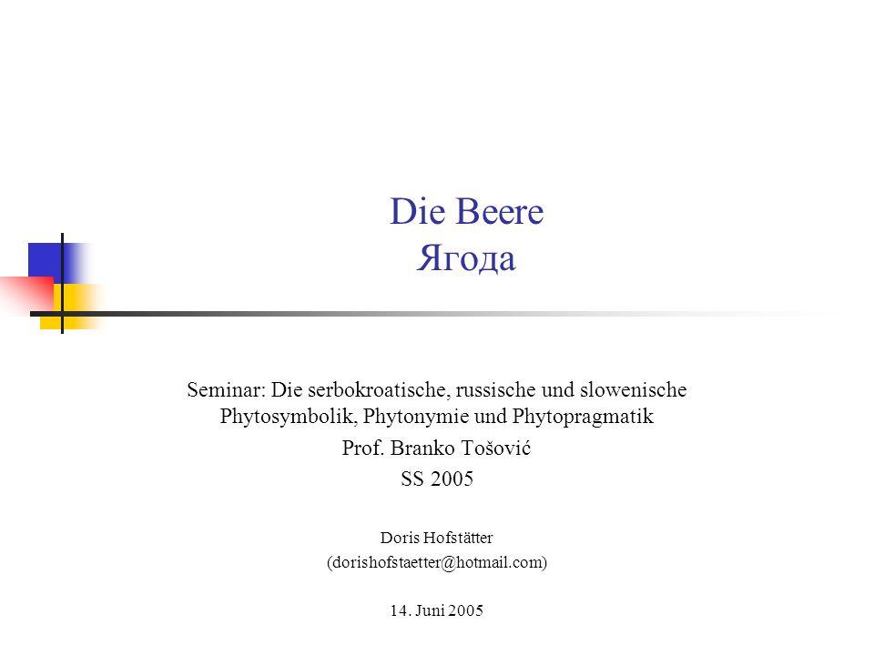 Die Beere Ягода Seminar: Die serbokroatische, russische und slowenische Phytosymbolik, Phytonymie und Phytopragmatik Prof. Branko Tošović SS 2005 Dori