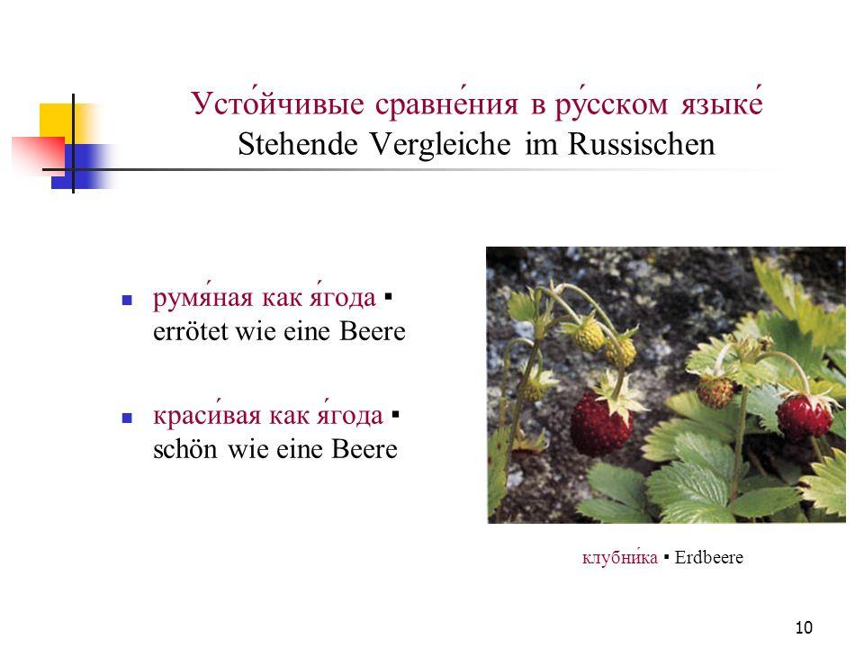 10 Усто́йчивые сравне́ния в ру́сском языке́ Stehende Vergleiche im Russischen румяная как ягода errötet wie eine Beere красивая как ягода schön wie ei