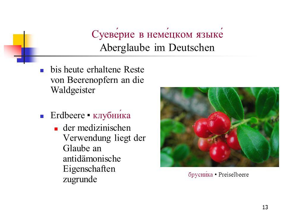 13 Суеве́рие в неме́цком языке́ Aberglaube im Deutschen bis heute erhaltene Reste von Beerenopfern an die Waldgeister Erdbeere клубника der medizinisc