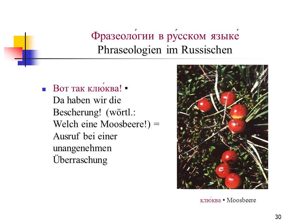 30 Фразеоло́гии в ру́сском языке́ Phraseologien im Russischen Вот так клю́ква! Da haben wir die Bescherung! (wörtl.: Welch eine Moosbeere!) = Ausruf b