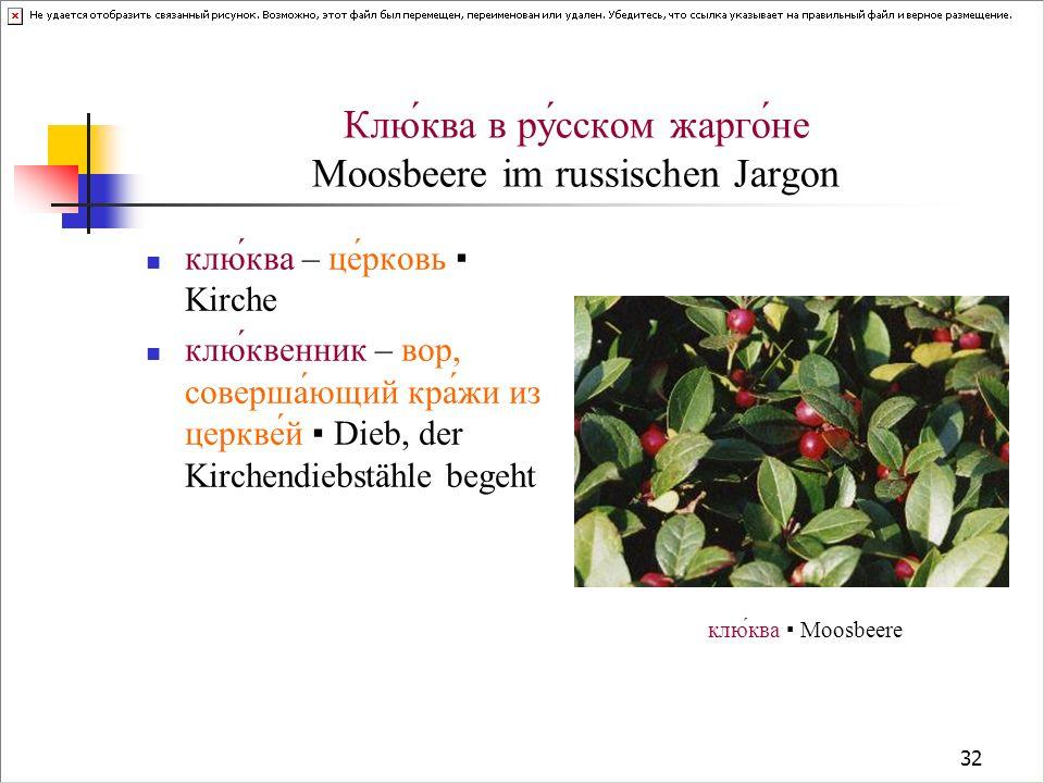32 Клю́ква в ру́сском жарго́не Moosbeere im russischen Jargon клю́ква – це́рковь Kirche клю́квенник – вор, соверша́ющий кра́жи из церкве́й Dieb, der K