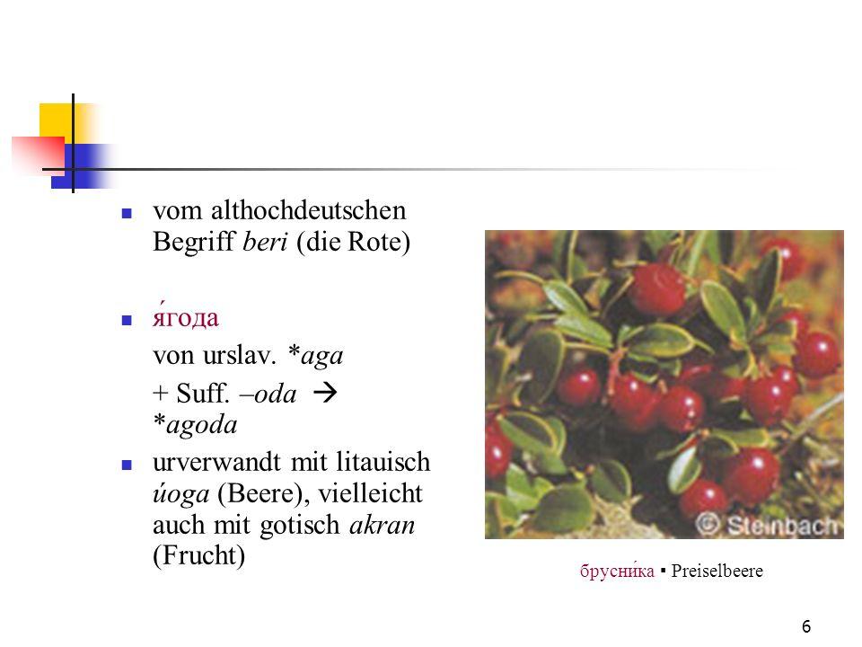 6 vom althochdeutschen Begriff beri (die Rote) ягода von urslav. *aga + Suff. –oda *agoda urverwandt mit litauisch úoga (Beere), vielleicht auch mit