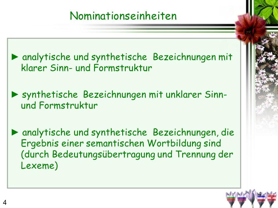 4 Nominationseinheiten analytische und synthetische Bezeichnungen mit klarer Sinn- und Formstruktur synthetische Bezeichnungen mit unklarer Sinn- und Formstruktur analytische und synthetische Bezeichnungen, die Ergebnis einer semantischen Wortbildung sind (durch Bedeutungsübertragung und Trennung der Lexeme) 4