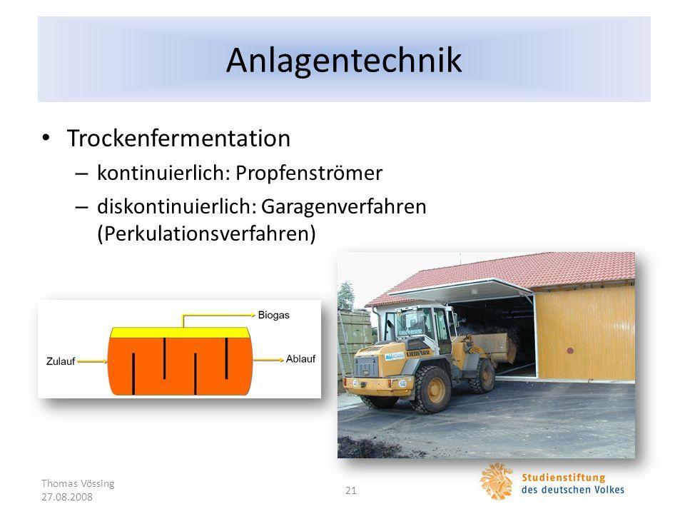 Anlagentechnik Trockenfermentation – kontinuierlich: Propfenströmer – diskontinuierlich: Garagenverfahren (Perkulationsverfahren) Thomas Vössing 27.08