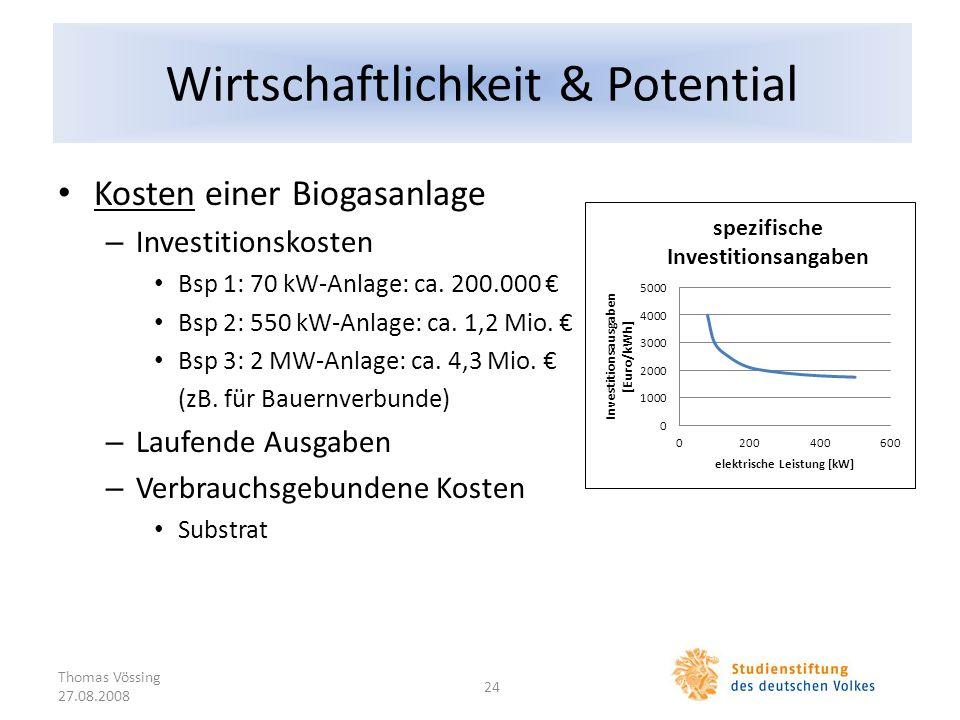 Wirtschaftlichkeit & Potential Kosten einer Biogasanlage – Investitionskosten Bsp 1: 70 kW-Anlage: ca. 200.000 Bsp 2: 550 kW-Anlage: ca. 1,2 Mio. Bsp