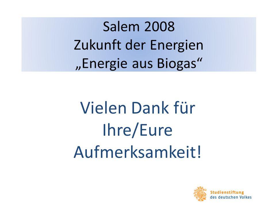 Salem 2008 Zukunft der Energien Energie aus Biogas Vielen Dank für Ihre/Eure Aufmerksamkeit!