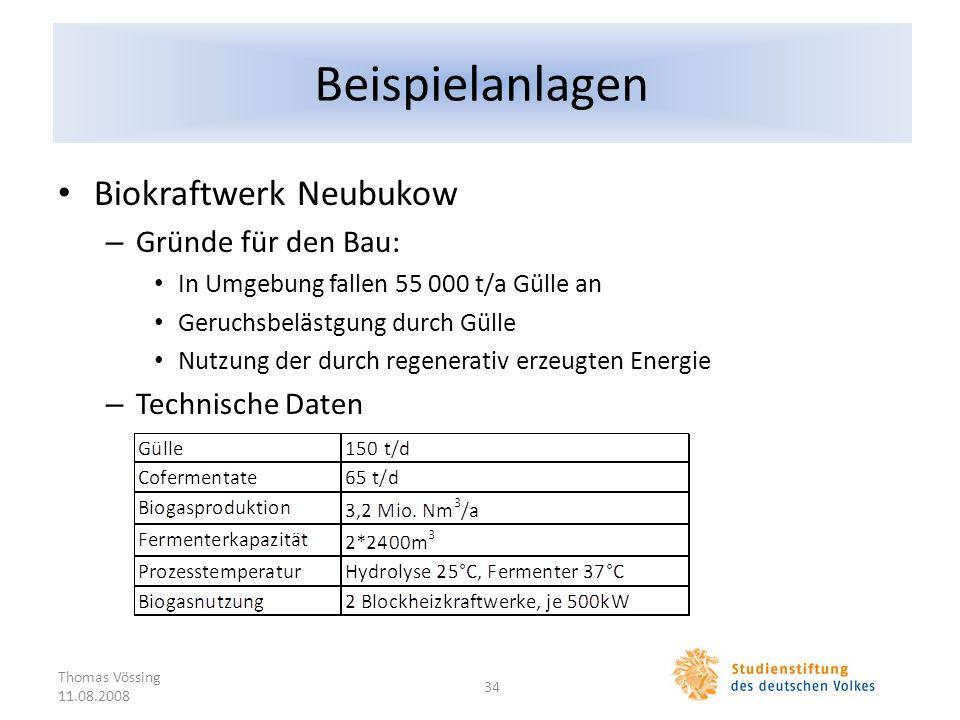 Beispielanlagen Biokraftwerk Neubukow – Gründe für den Bau: In Umgebung fallen 55 000 t/a Gülle an Geruchsbelästgung durch Gülle Nutzung der durch reg