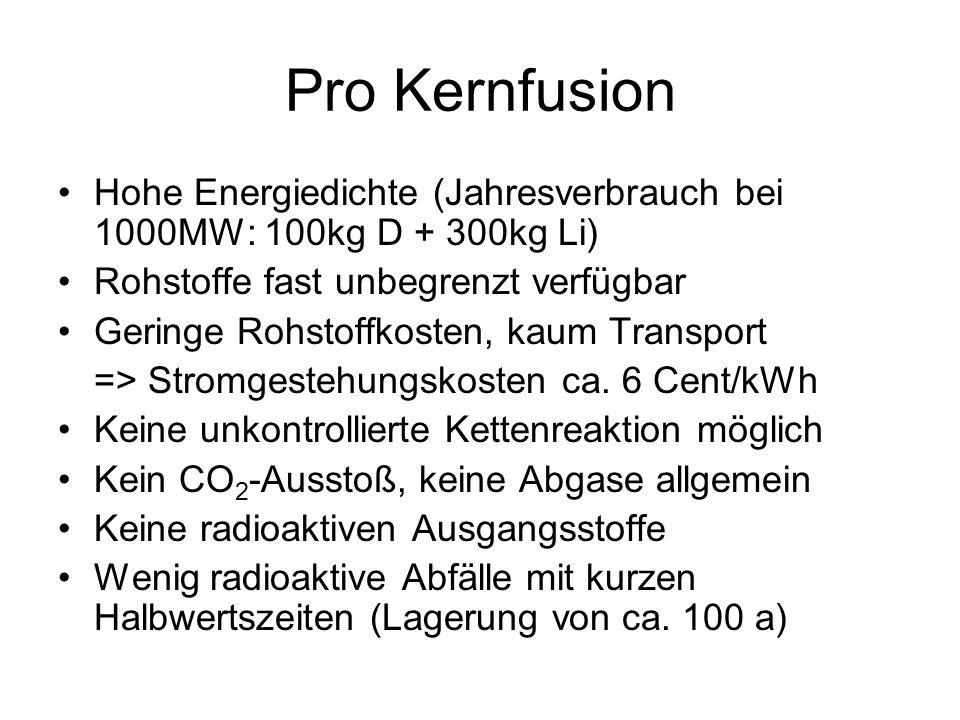 Pro Kernfusion Hohe Energiedichte (Jahresverbrauch bei 1000MW: 100kg D + 300kg Li) Rohstoffe fast unbegrenzt verfügbar Geringe Rohstoffkosten, kaum Tr