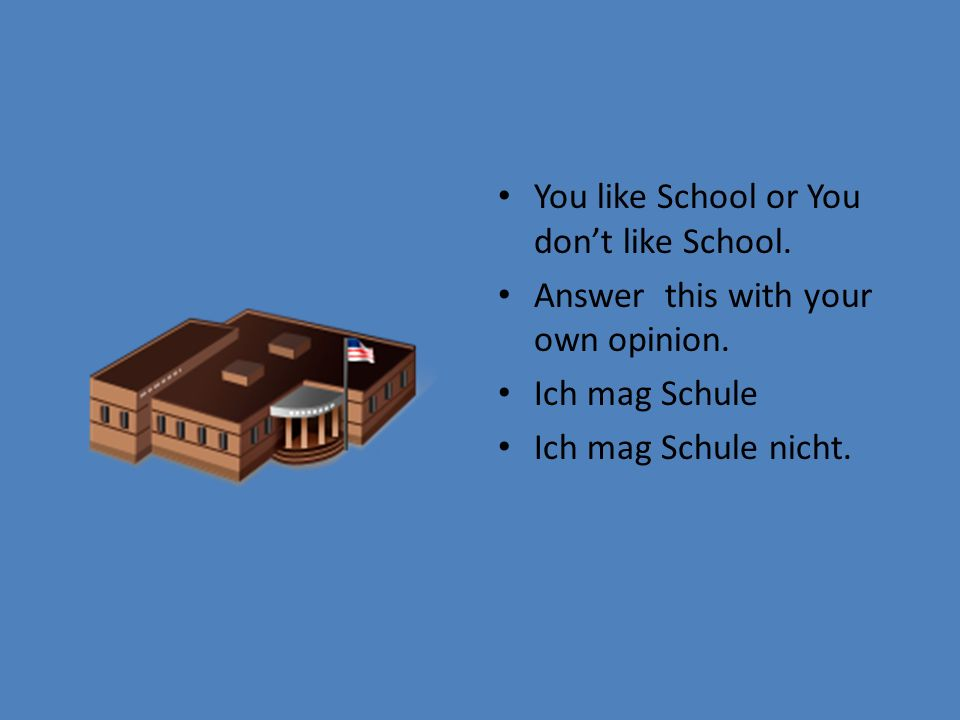 You like School or You dont like School. Answer this with your own opinion. Ich mag Schule Ich mag Schule nicht.