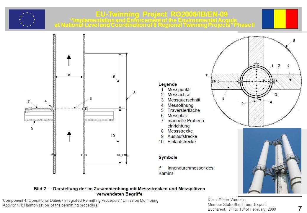 EU-Twinning Project RO2006/IB/EN-09 Implementation and Enforcement of the Environmental Acquis at National Level and Coordination of 8 Regional Twinning Projects Phase II Klaus-Dieter Warnatz Member State Short Term Expert Bucharest, 7 tth to 13 th of February 2009 18 Component 4: Operational Duties / Integrated Permitting Procedure / Emission Monitoring Activity 4.1: Harmonization of the permitting procedure; Fazit Die EN 15259 beschreibt die messtechnischen Voraussetzungen für die Durchführung von Emissionsmessungen Dies betrifft die Auswahl und die Lage von Messöffnungen sowie deren Ausführung, die Infrastruktur an der Messstelle sowie Informationen zur Messplanung.