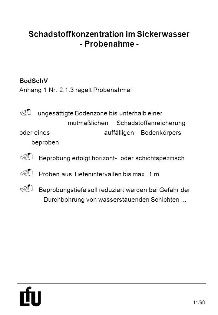 11/98 Schadstoffkonzentration im Sickerwasser - Probenahme - BodSchV Anhang 1 Nr. 2.1.3 regelt Probenahme :. ungesättigte Bodenzone bis unterhalb eine