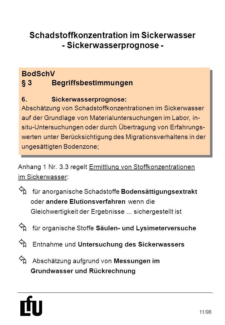 11/98 Schadstoffkonzentration im Sickerwasser - Sickerwasserprognose - Anhang 1 Nr. 3.3 regelt Ermittlung von Stoffkonzentrationen im Sickerwasser: Å