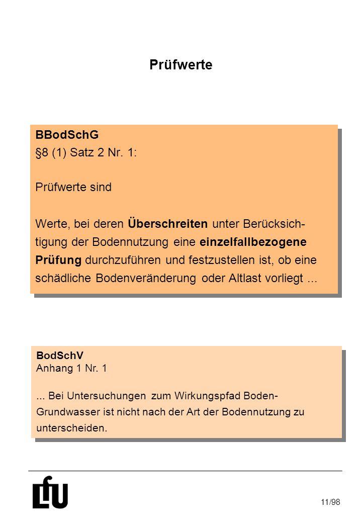 11/98 Prüfwerte BBodSchG §8 (1) Satz 2 Nr. 1: Prüfwerte sind Werte, bei deren Überschreiten unter Berücksich- tigung der Bodennutzung eine einzelfallb