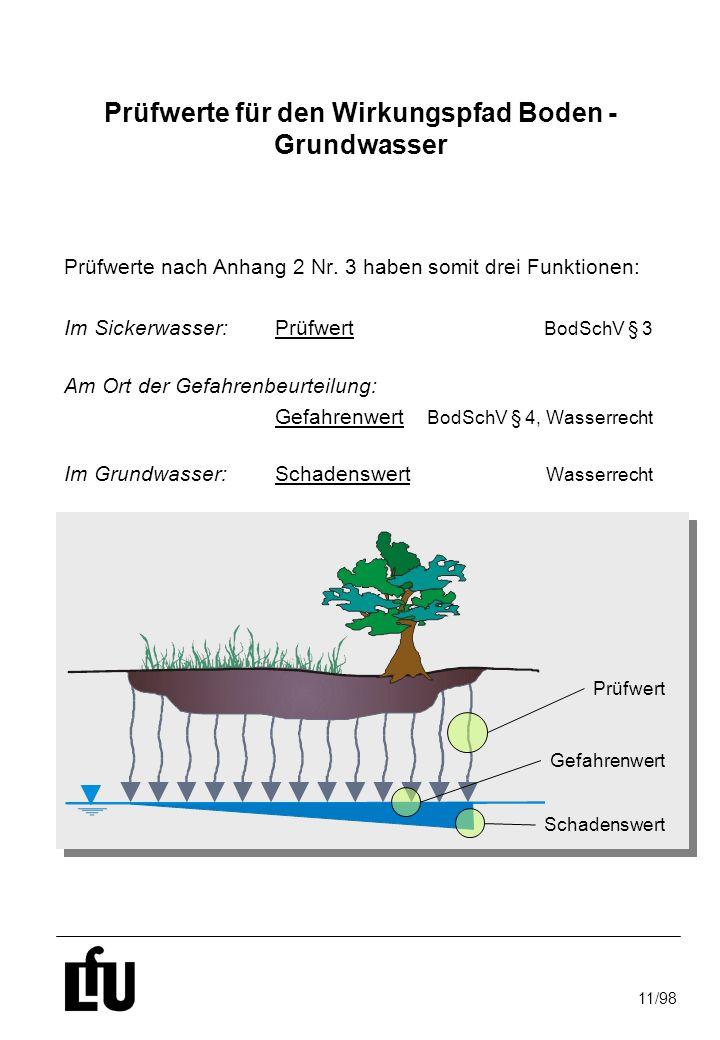 11/98 Prüfwerte für den Wirkungspfad Boden - Grundwasser Prüfwerte nach Anhang 2 Nr. 3 haben somit drei Funktionen: Im Sickerwasser:Prüfwert BodSchV §