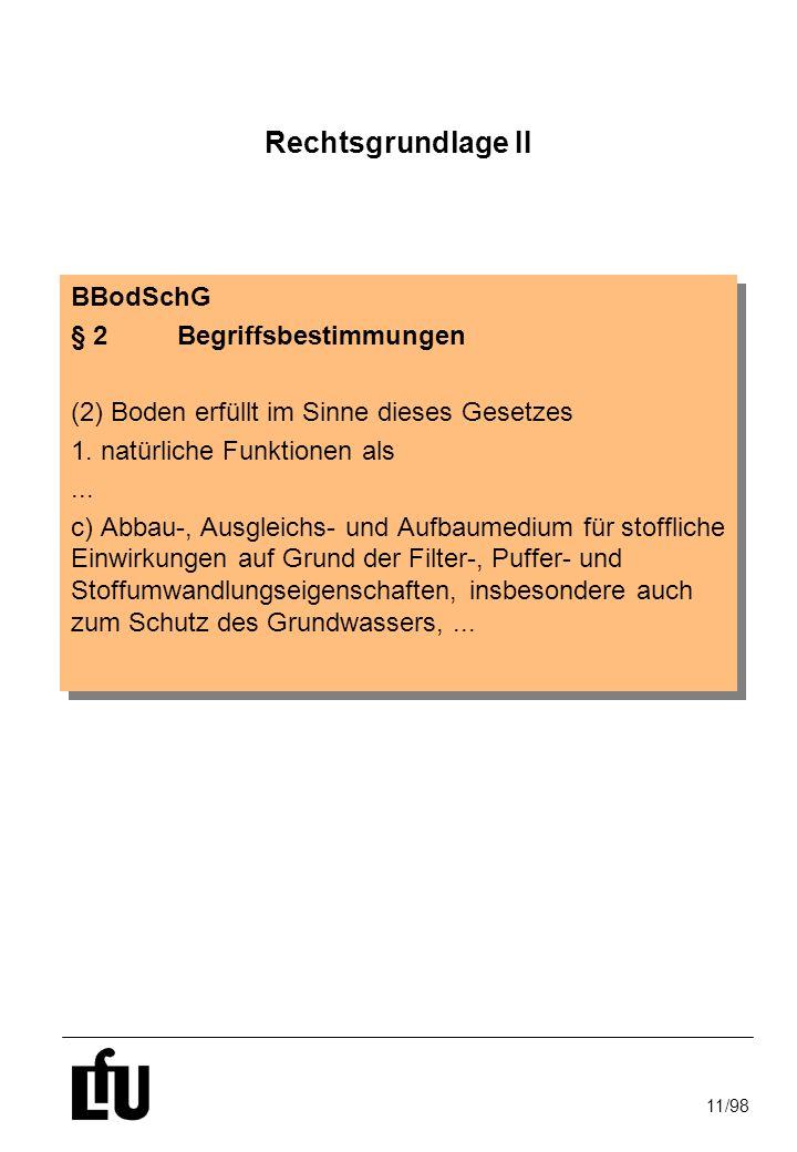 11/98 Rechtsgrundlage II BBodSchG § 2Begriffsbestimmungen (2) Boden erfüllt im Sinne dieses Gesetzes 1. natürliche Funktionen als... c) Abbau-, Ausgle