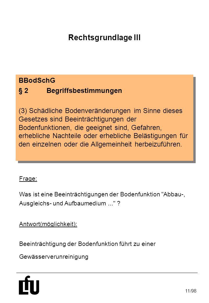 11/98 Prüfwerte BBodSchG §8 (1) Satz 2 Nr.