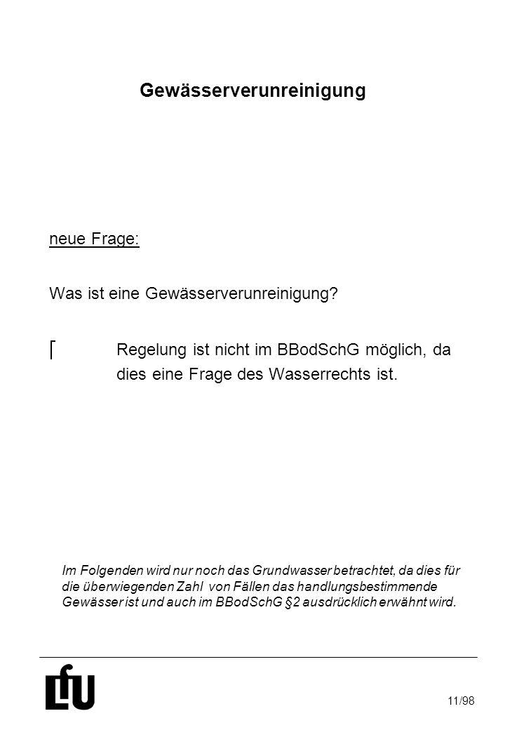 11/98 Gewässerverunreinigung neue Frage: Was ist eine Gewässerverunreinigung? Regelung ist nicht im BBodSchG möglich, da dies eine Frage des Wasserrec
