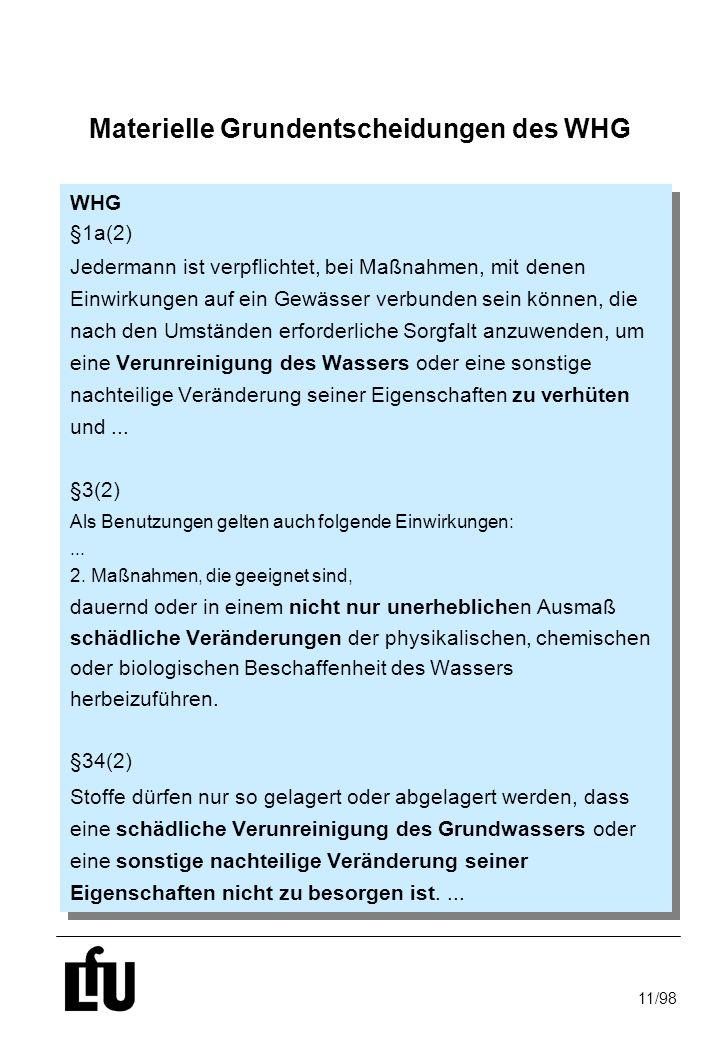 11/98 Materielle Grundentscheidungen des WHG WHG §1a(2) Jedermann ist verpflichtet, bei Maßnahmen, mit denen Einwirkungen auf ein Gewässer verbunden s