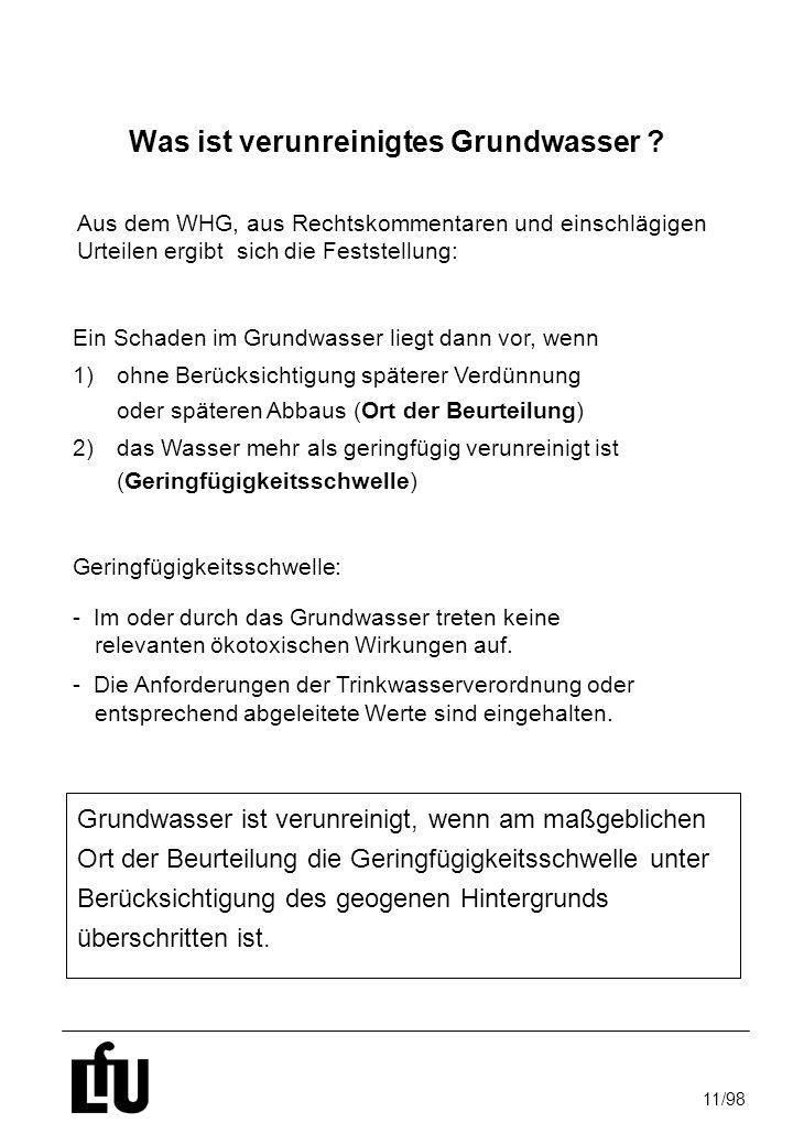 11/98 Was ist verunreinigtes Grundwasser ? Geringfügigkeitsschwelle:  Im oder durch das Grundwasser treten keine relevanten ökotoxischen Wirkungen au
