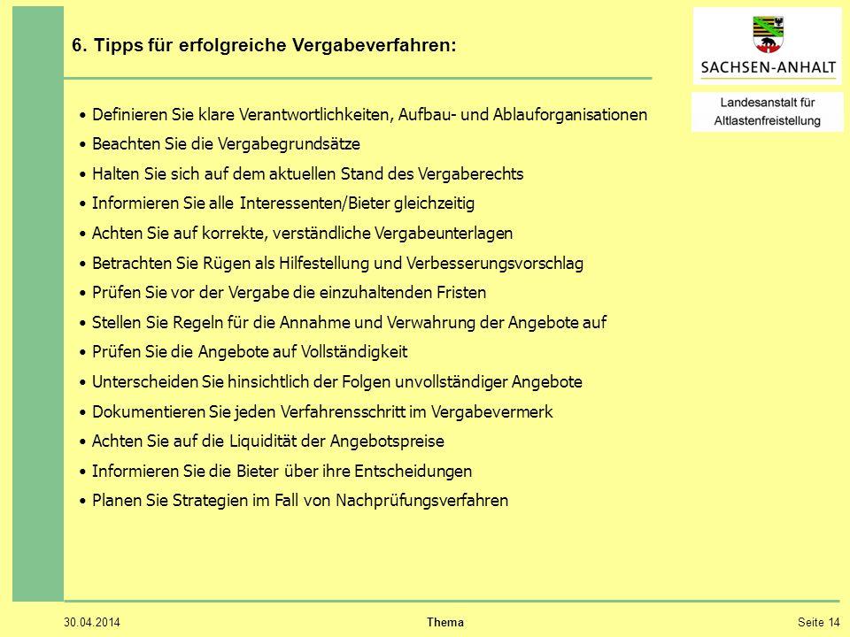 30.04.2014 ThemaSeite 14 6. Tipps für erfolgreiche Vergabeverfahren: Definieren Sie klare Verantwortlichkeiten, Aufbau- und Ablauforganisationen Beach
