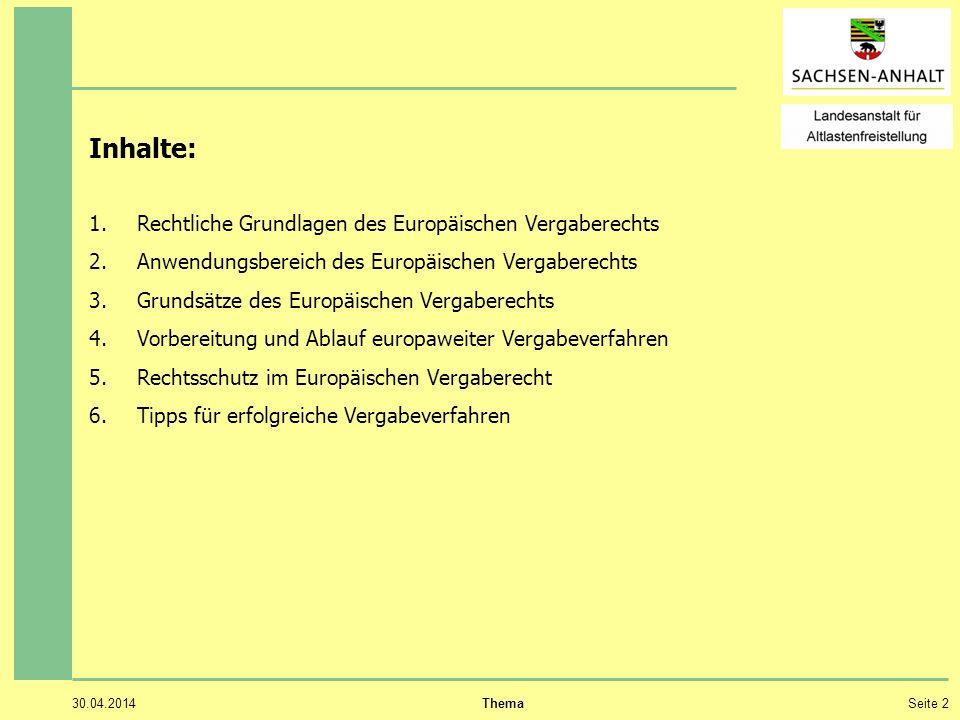 30.04.2014 ThemaSeite 2 Inhalte: 1.Rechtliche Grundlagen des Europäischen Vergaberechts 2.Anwendungsbereich des Europäischen Vergaberechts 3.Grundsätz