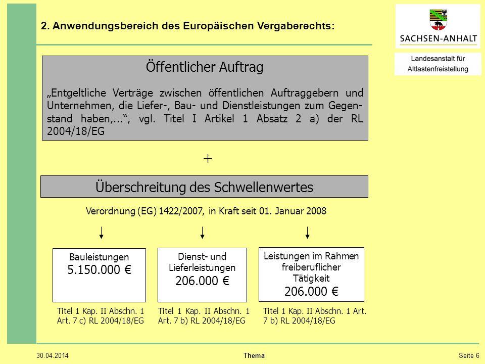 30.04.2014 ThemaSeite 6 2. Anwendungsbereich des Europäischen Vergaberechts: Öffentlicher Auftrag Entgeltliche Verträge zwischen öffentlichen Auftragg