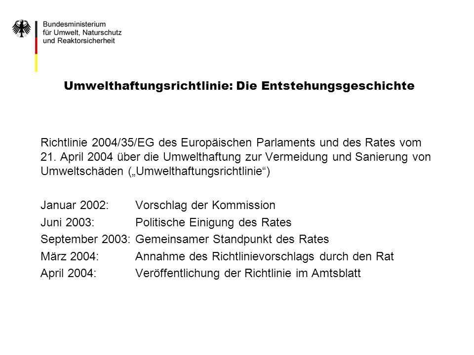 Umwelthaftungsrichtlinie: Die Entstehungsgeschichte Richtlinie 2004/35/EG des Europäischen Parlaments und des Rates vom 21. April 2004 über die Umwelt