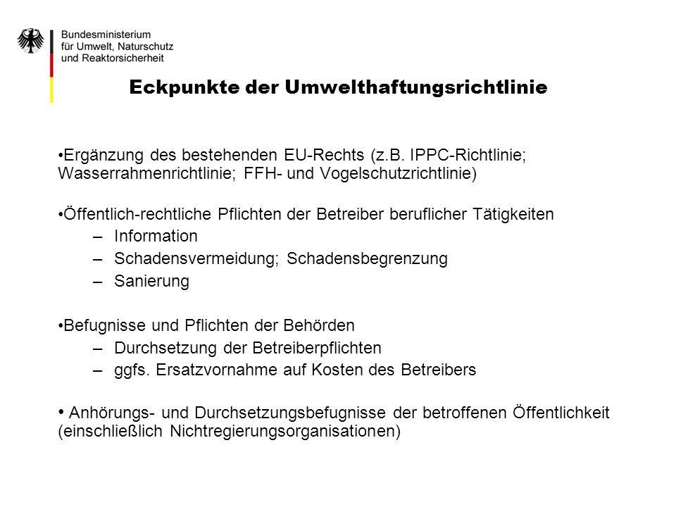 Eckpunkte der Umwelthaftungsrichtlinie Ergänzung des bestehenden EU-Rechts (z.B. IPPC-Richtlinie; Wasserrahmenrichtlinie; FFH- und Vogelschutzrichtlin