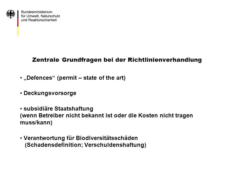 Zentrale Grundfragen bei der Richtlinienverhandlung Defences (permit – state of the art) Deckungsvorsorge subsidiäre Staatshaftung (wenn Betreiber nic