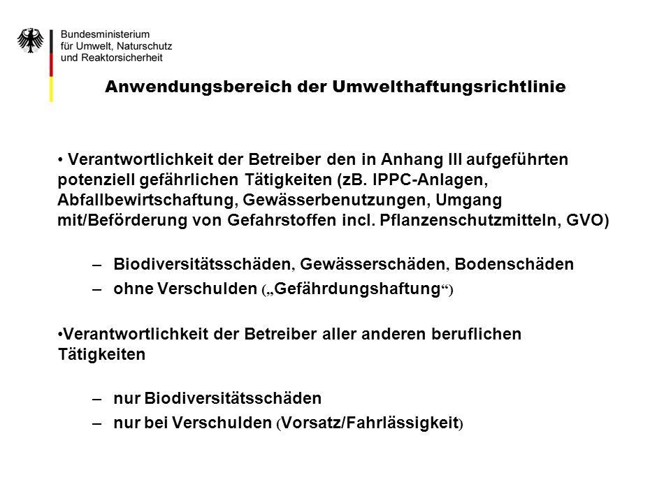Anwendungsbereich der Umwelthaftungsrichtlinie Verantwortlichkeit der Betreiber den in Anhang III aufgeführten potenziell gefährlichen Tätigkeiten (zB
