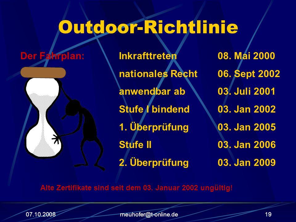 07.10.2008rneuhofer@t-online.de19 Outdoor-Richtlinie Der Fahrplan:Inkrafttreten08. Mai 2000 nationales Recht06. Sept 2002 anwendbar ab03. Juli 2001 St