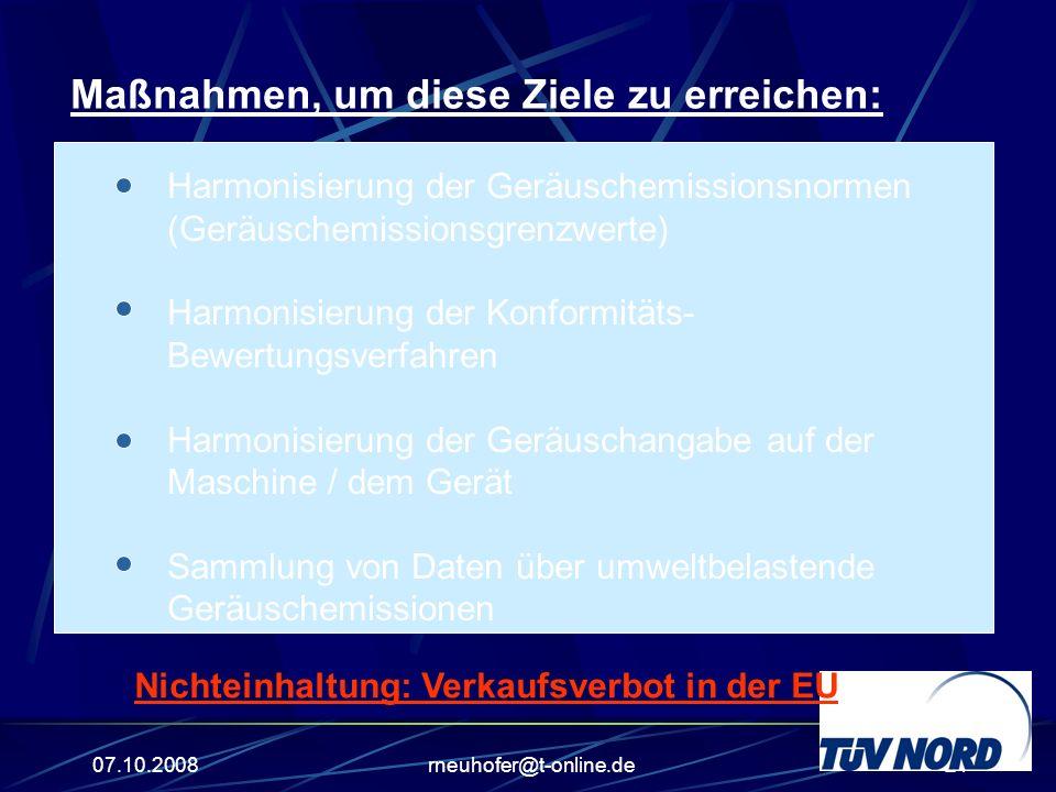 07.10.2008rneuhofer@t-online.de21 Maßnahmen, um diese Ziele zu erreichen: Harmonisierung der Geräuschemissionsnormen (Geräuschemissionsgrenzwerte) Harmonisierung der Konformitäts- Bewertungsverfahren Harmonisierung der Geräuschangabe auf der Maschine / dem Gerät Sammlung von Daten über umweltbelastende Geräuschemissionen Nichteinhaltung: Verkaufsverbot in der EU