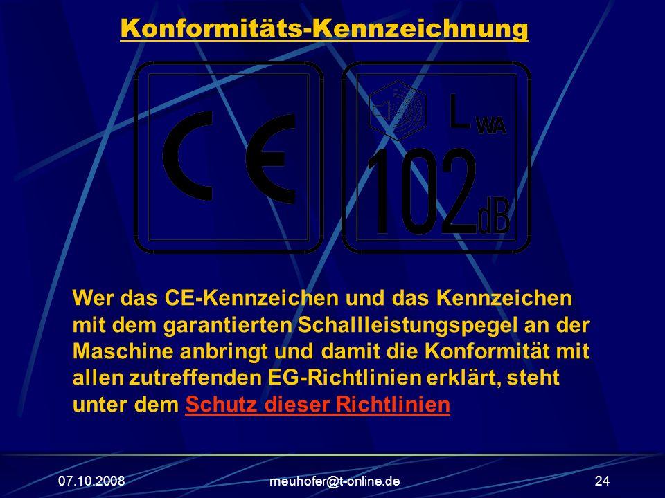 07.10.2008rneuhofer@t-online.de24 Konformitäts-Kennzeichnung Wer das CE-Kennzeichen und das Kennzeichen mit dem garantierten Schallleistungspegel an der Maschine anbringt und damit die Konformität mit allen zutreffenden EG-Richtlinien erklärt, steht unter dem Schutz dieser Richtlinien