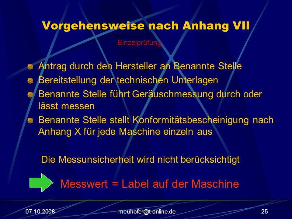 07.10.2008rneuhofer@t-online.de25 Vorgehensweise nach Anhang VII Antrag durch den Hersteller an Benannte Stelle Bereitstellung der technischen Unterla