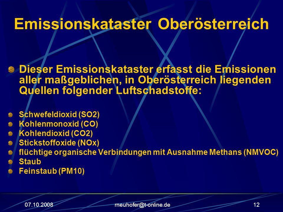 07.10.2008rneuhofer@t-online.de12 Emissionskataster Oberösterreich Dieser Emissionskataster erfasst die Emissionen aller maßgeblichen, in Oberösterrei
