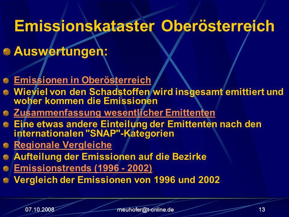 07.10.2008rneuhofer@t-online.de13 Emissionskataster Oberösterreich Auswertungen: Emissionen in Oberösterreich Wieviel von den Schadstoffen wird insges