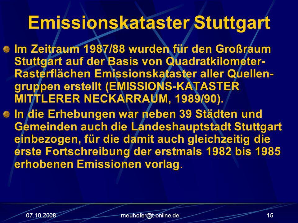 07.10.2008rneuhofer@t-online.de15 Emissionskataster Stuttgart Im Zeitraum 1987/88 wurden für den Großraum Stuttgart auf der Basis von Quadratkilometer