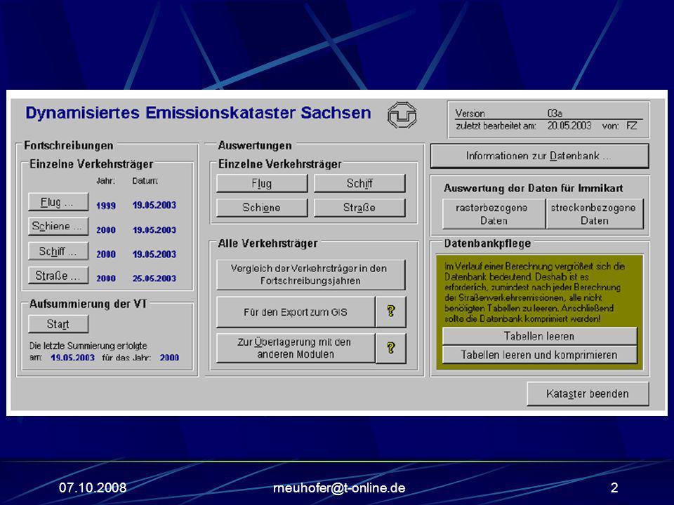 07.10.2008rneuhofer@t-online.de3 Umweltdatenbanken Sachsen Emissionskataster In den Emissionskatastern der verschiedenen Emittentengruppen werden Emissionsquellen mit den zugehörigen luftverunreinigenden Stoffen für das Land Sachsen-Anhalt erfasst.